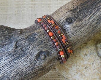 Leather Wrap Bracelet: Orange/Brown/Gold/Double Wrap Bracelet/Beaded Leather Wrap/Tila Bead Bracelet/Layering Bracelet/3rd Anniversary Gift