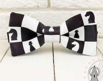 Chess Bow Tie, Chess board bowtie, Black and white, Men's bow tie, Women's bow tie, Children's bow tie