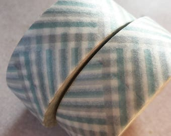 10 meters Washi tape Masking tape - zig zag blue green white and grey - Scandinavian vintage