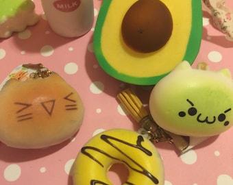 Avocado Baby bottle squishy panda, macaroon, slow rising bottle kawaii squishies ice cream squishes cat keychain (please read description)