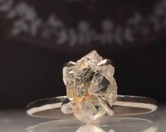 Raw Topaz  Ring/Gorgeous Rough Uncut Brazilian Topaz Ring./ Healing Crystal Ring/Free US Shipping.