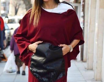 Extravagant Cotton Knitting Blouse, Oversize Tunic, Maxi Sweatshirt, Everyday Wear, Asymmetric Tunic With Leather Pockets by SSDfashion
