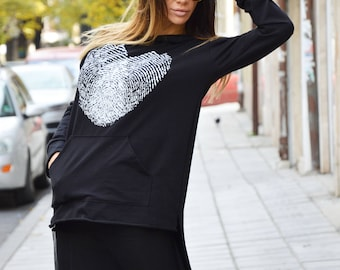 Black Hooded Sweatshirt Whit Fingerprint, Loose Tulle Extravagant Tunic, Oversize Bloose by SSDfashion