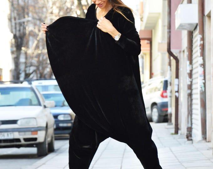 New Extravagant Black Velvet Jumpsuit, Extra Long Sleeves, Loose Jumpsuit, Maxi Drop Crotch Harem Pants by SSDfashion