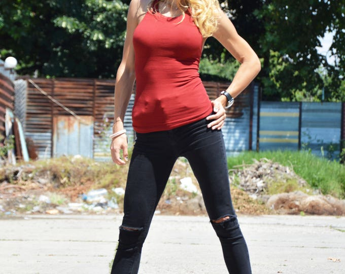Extravagant Tank Top, Racer Burgundy Tank Top, Sleeveless Top, Casual Plus Size Sport Wear by SSDfashion