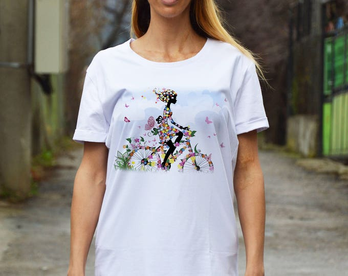 Woman With Bicycle White Cotton T-shirt, Plus Size Printed Tshirt, Extravagant Party Top By SSDfashion