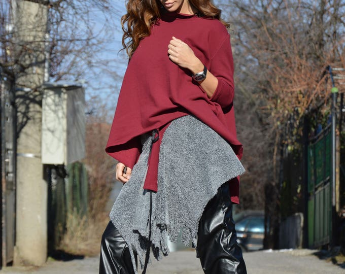 Womens Burgundy Trendy Set, Extravagant Tunic and Sexy Skirt, Asymmetric Oversize Fashion outfit by SSDfashion