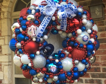 "Texas Ranger baseball Christmas wreath in red, white & blue - 15"" x 15"""