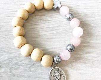 Semi precious Rose quartz stone + wood rosary bracelet with Gaurdian Angel medal