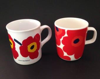 Marimekko Red Flower Mugs Set of Two