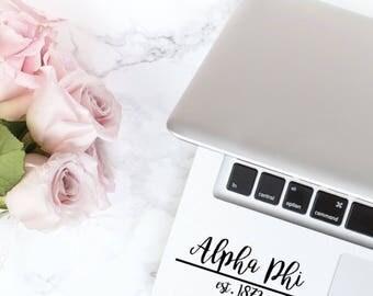 Alpha Phi Script Year Founded Laptop Yetti Camelbak Sticker