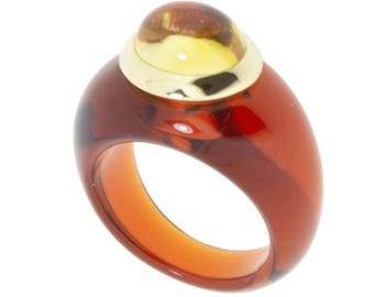 Resin ring and cabochon citrin