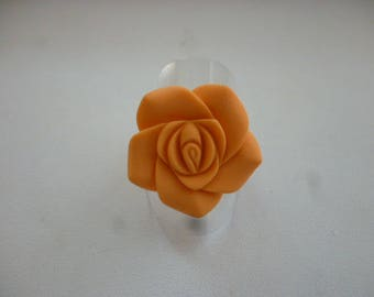 Apricot and silver resin flower ring