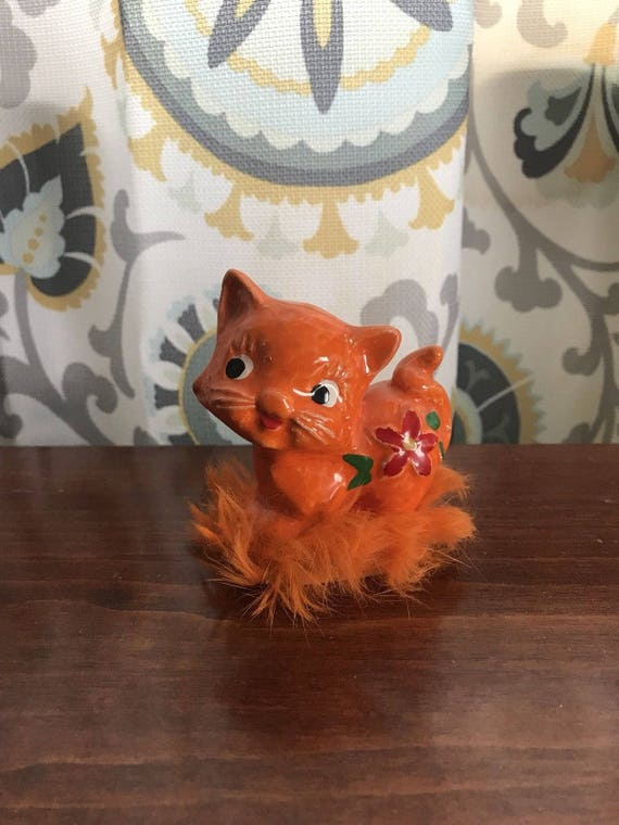 Vintage Napco Japan Furry Kitty Orange with Flowers! A Rare one!
