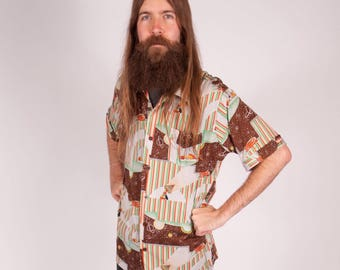Vintage Mens Tik Tak button up shirt with UFO design