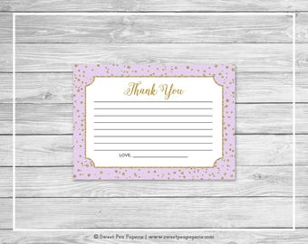 Purple and Gold Baby Shower Thank You Cards - Printable Baby Shower Thank You Cards - Purple Confetti Baby Shower - Thank You Cards - SP148