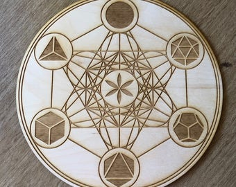 Metatron's Cube Crystal Grid - Platonic Solids - 3, 6, 9 or 12 Inches - Wooden Crystal Grid - Sacred Geometry - Wood Engraved