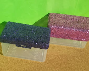 Glitter Index Card Box, School Supplies, Office Supplies, Index Card Holder,  (Plastic) (Your Choice of Color), Classroom Supplies, Teacher