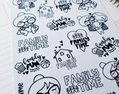 Family time Cora | jumbo monochrome character / color your own | Planner stickers