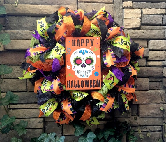 Halloween Wreath, Day of the Dead Wreath, Sugar Skull Wreath, Paper Mesh Wreath, Deco Mesh Wreath, Halloween Decoration, Halloween Decor