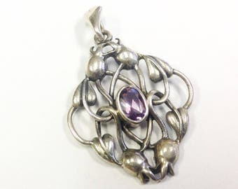 Vintage, Sterling silver, Arts and Crafts style, amethyst pendant.