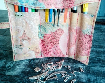 Clutch, pouch, pen, markers, brush, floral Vintage Leather, original customizable or other 4 photos