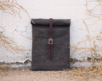 Waxed Canvas & Leather Laptop Case