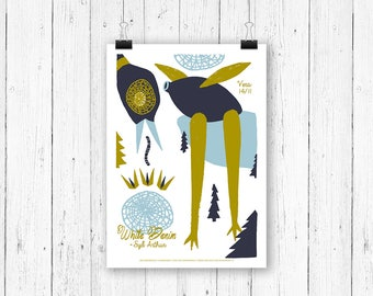 Screen print poster bird - White Denim at Vera Groningen - gig poster 70 x 50 cm