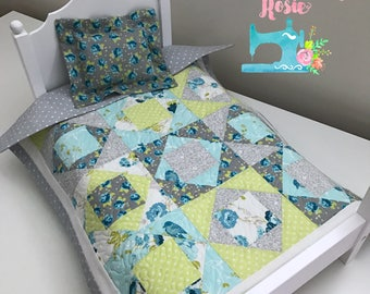 "Doll Quilt & Pillow 2-Pc Set - 18"" Doll - ""Charlotte"" Layout - Green, Gray, and Blue"