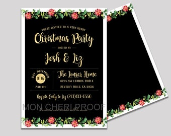 Poinsettia Christmas Holiday Party Invitation | Christmas Invitation | Christmas Party | Holiday Party Invitation | Printed Invitations