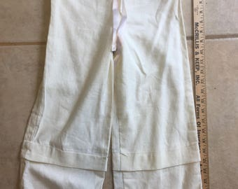 Girls Size 6 White Linen PANTALOONS 18th Century Prairie Costume Civil War Re-enactment