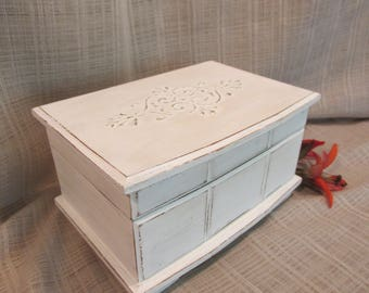 Wooden Jewelry Box, Cottage Chic, French Country, Distressed White, Embossed DesignTop, Mirror Back, Vintage, Up-Cycled, Earring Holder