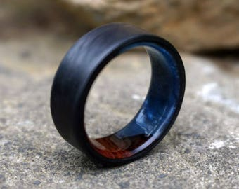 Carbon Fiber Ring, Wood Ring, Wood Inlay Ring, Carbon Fiber Wood Ring, Wedding Ring, Wood Wedding Band, Mens Ring, Amboyna Burl Wood Ring