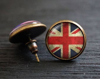 Rustic England Earrings, England Flag, British Flag Earrings