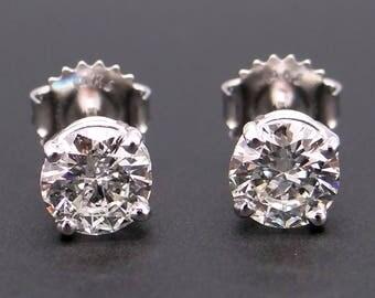 Outstanding GIA 14k White Gold 1.41ct Round Brilliant Cut Diamond Stud Earrings