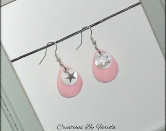 Pretty earrings with oval Pearl Pink and white sequin and a star