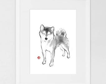 Shiba in a Sunny Day(Small)Art Poster Japanese Dog Sumi-e Painting Ink Zen Print Drawing Dog Lover Wall Deco Pet Brush illustration B&W