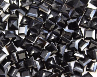 15-P Wholesale Lot Of Natural Black Onyx square Cut Faceted Calibrated Loose Gemstone