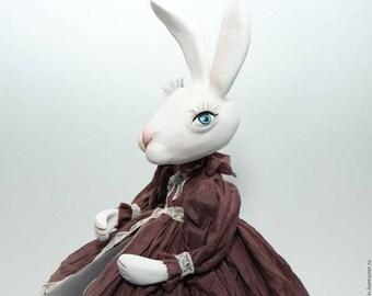 White Rabbit, Art Dolls, Toy Rabbit, Inerior Art Doll, Hand Painted Art Sculpted Doll, Paperclay Art Doll, Handmade Doll, OOAK Doll