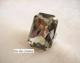 Large ring, cabochon swarovski crystal rectangle gray Czech, open Adjustable ring, silver, fanfaisie women's fashion jewelry