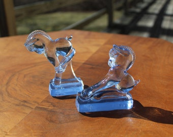 "Heisey HCA Blue Glass ""Rearing Colt"" and ""Kicking Colt"""