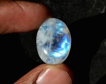 Rainbow Moonstone 19 Cts Natural Top Quality Blue Fire/Flash Gemstone Cabochon Oval Shape 21x15x7 MM R14431