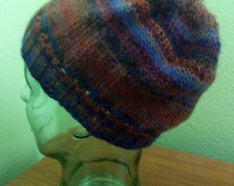 Adult medium hand knit slouch hat  100% wool  striped