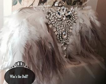 Gatsby bag/Flapper bag/1920s style bag/Art Deco bag/Bridal clutch/Rooster bag/Ostrich bag/Wedding clutch/Taupe & Ivory bag