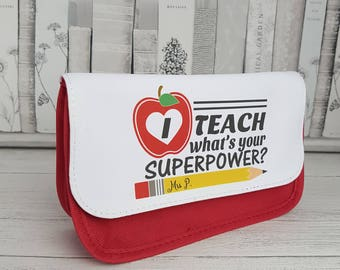 I Teach Pencil Case - Personalised, teacher gift, christmas gift, back to school, teacher