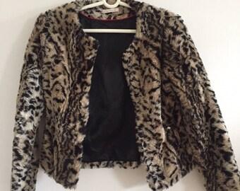 Vintage Faux Fur Leopard Jacket