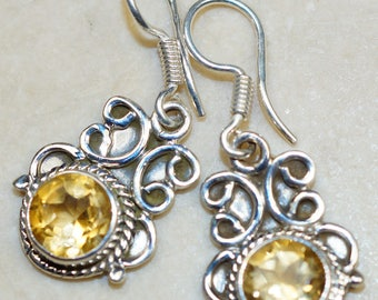 Stunning Citrine set in Solid 925 Sterling Silver Earrings