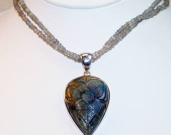 Carved Labradorite with faceted Labradorite Beaded and  Sterling Silver Necklace