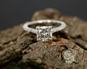 Certified 7mm/1.66 Carats Cushion Forever One G-H Near Colorless Moissanite 14k White Gold Diamond Engagement Ring (Other Stones Available)