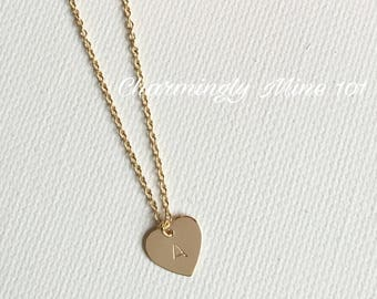 14k Gold filled heart necklace. Personalized jewelry. Initial necklace.  Bridesmaid necklace. Personalized gift. Hand stamped necklace